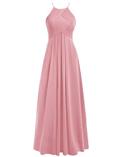 Brautjungfernkleider Abendkleider Linie Rückenfrei Chiffon Ballkleider Hochzeitskleider 42 Blush A Lang Neckholder 1Rfpw7q1r