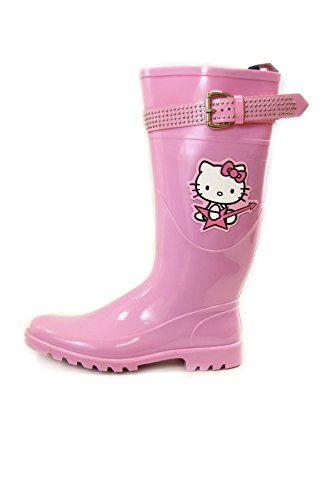 Blue Pink Hello With Studded And Dark Pvc Kitty Rain Colors Lilac Strap Boots Buckle wIrAwxOPq