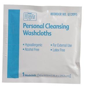 PDI HYGEA PERSONAL CLEANSING WIPES Personal Cleaning Washcloths, Individually Packed, 400/cs by PROFESSIONAL DISPOSABLES INT'L