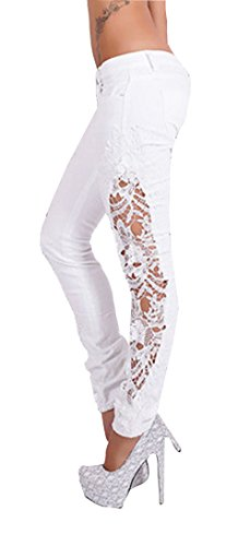 Allonly Women's Fashion Skinny Fit Low Rise Patchwork Embroidered Jeans Pencil Pants With Lace On (Lace Low Rise Jeans)