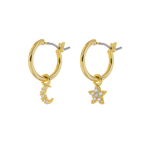 - Columbus 14K Gold Dipped Huggie Hoop Earrings - Cubic Zirconia Moon, Star and Lightning Bolt Charms (Gold CZ Moon/Star)