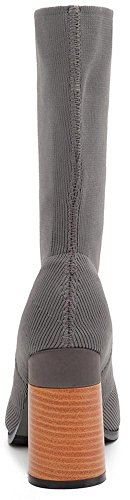 Easemax Women's Dressy Pointy Toe Pull On High Chunky Heeled Mid Calf Boots Grey Ievecl556