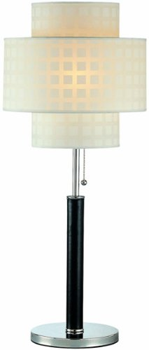 - Lite Source LS-20290 Olina Table Lamp, Leather Pole with White Grid Pattern Shade, Brown