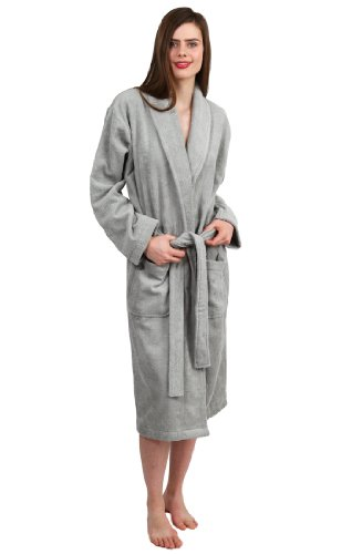 TowelSelections Women's Robe, Turkish Cotton Terry Shawl Bathrobe X-Small/Small Silver Grey