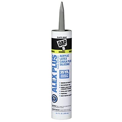 Dap 18118 Acrylic Latex Caulk with Silicone, 10.1-Ounce, Slate Gray