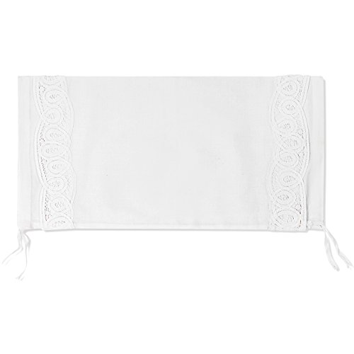"""6"""" X 15"""" White Linen Neckroll Pillow Cover with Battenberg Lace"""
