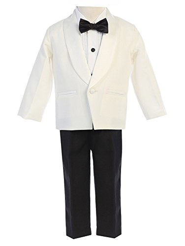 Lito Baby Boys Ivory Black Jacket Pants Shirt Bowtie 4 Pc Tuxedo 12-18M