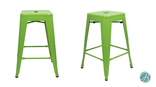 Pleasant Amazon Com Set Of 2 Metal Bar Stool 24 Milani Lawn Green Squirreltailoven Fun Painted Chair Ideas Images Squirreltailovenorg