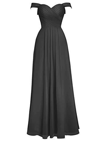 Robes De Demoiselle D'honneur Asbridal Longue Robe De Bal Au Large Dos Nu En Mousseline De Soie Robe Formelle Épaule Noir