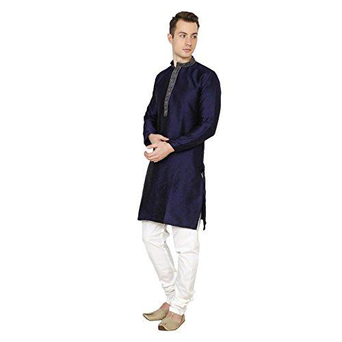 Royal Indian Mens Traditional Navy Blue Ethnic Kurta Pajama Wedding Dress Casual Wear by Royal