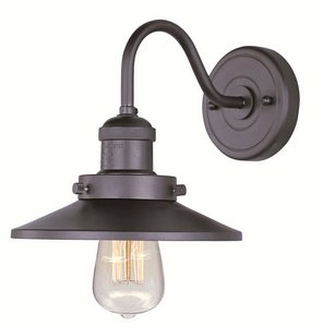 Sconce Wood Standard (Maxim 25080BZ/BUI Mini Hi-Bay 1-Light Wall Sconce W/Bulb, Bronze Finish, Glass, MB Incandescent Incandescent Bulb, 60W Max, Dry Safety Rating, Standard Dimmable, Wood Shade Material, Rated Lumens)