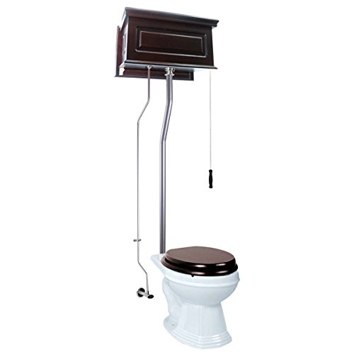 Dark Oak Raised High Tank Pull Chain Toilet With White Round Bowl And Satin -