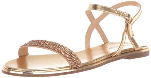 - bebe Women's Brilynn Flat Sandal, Gold, 6 Medium US