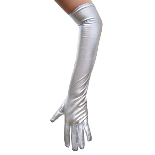 Long Silver Metallic Gloves (Silver Metallic Gloves ~ Great for Costumes, Party, Prom (STC12090))