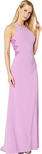 Halston Heritage Women's Sleeveless High Neck Crepe Gown with Twist Detail Tulip 1 2
