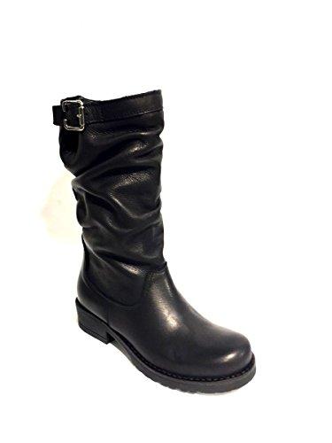 Zeta Tacco Basso Donna In Pelle Vera Nero Stivali Shoes Biker YrqFfY