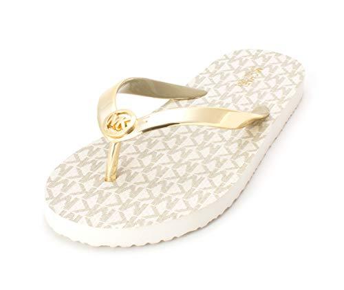 Michael Kors Womens Mk Flip Flop Open Toe Beach, Gold, Size 10.0 (Michael Kors Blau Flieger)