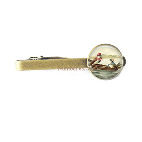 Birds on Rowboat Tie Clip,Inspirational Jewelry,Graduation Gift,Dainty Tie Clip,BV100 (V2)