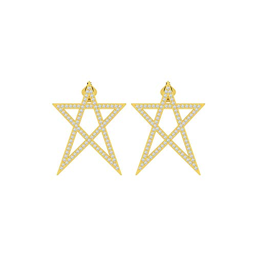 ASHNE JEWELS IGI Certified 0.94 Carat Round-Shape Natural Diamond (G-H Color, I1-I2 Clarity) 14K Yellow Gold Star Stud Earrings For Women