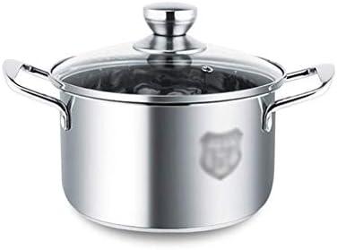 S-TING 鍋 ヘビー16ガラス蓋と鏡面研磨仕上げ、スープ鍋stewpanバイノーラルステンレス鋼(サイズ:18.5 * 22センチメートル)と304ステンレス鋼の鍋キャセロールディッシュ(サイズ:* 28センチメートル23.5) 不沾鍋 鍋子 萬用鍋 炒め鍋 フライパン
