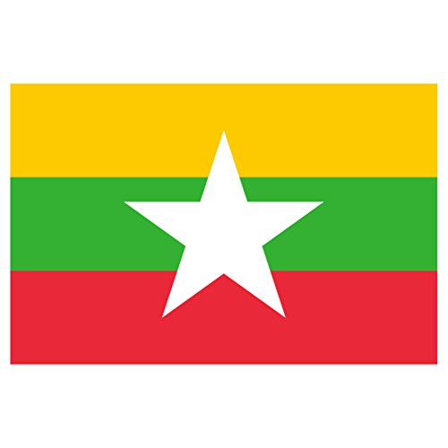 Burma Flag Decal - Five Inch Wide Full Color Decal, Sticker, for Indoor or Outdoor (Burma National Flag)