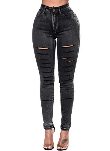 Sidefeel Women Faded Denim Wash Leg Ripped Skinny Jeans XX-Large Black