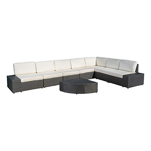 Reddington Outdoor Wicker Furniture Set, Sectional and Table for Patio or Lawn with Cushions in Grey and White (8-Piece)