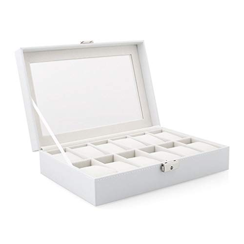 Scattered Diamond Watch - ZCY 12 Grids Wooden Watch Box Jewelry Display Storage Organizer, White Rectangle Shape Leather Watch Case Holder