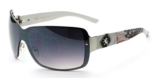 White Gray Lens Fashion Shades Metal Shield Men'S Designer Sunglasses