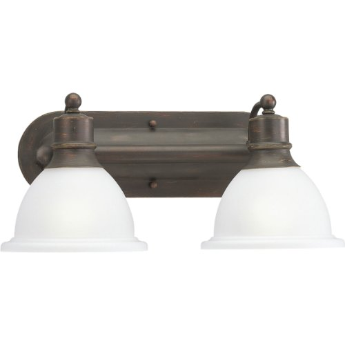 Progress Lighting P3162-20 2-Light Wall Bracket with White Etched Glass, Antique Bronze ()