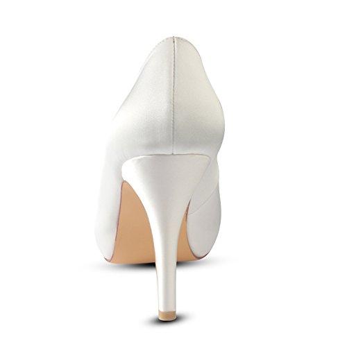 10CM de Zapatos 1 5CM boda honor de Verano mujeres puntiagudo nudo noche Plataformas de de de Satén de suela goma Rhinestone las altos Best Novia 4U® dama Tacones b de Primavera sandalias arco Zapatos wvOtq5nE