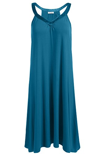 (Ekouaer Nightgown Womens Sleeveless Sleepwear V Neck Racerback Sleep Dress S-XXL (XXL, Peacock Blue))