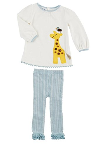 Mud Pie Little Girls' Giraffe Tunic and Legging Set, Blue and White, (Blue Giraffe Clothes)
