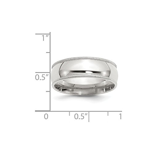 (Sterling Silver Engravable 8.5in 7mm Millgrain Comfort Fit)
