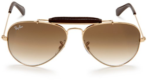 b44d8f5ee Amazon.com: Ray-Ban AVIATOR CRAFT - ARISTA/BROWN LEATHER Frame CRYSTAL  BROWN GRADIENT Lenses 55mm Non-Polarized: Ray-Ban: Clothing