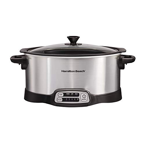 Hamilton Beach Programmable Slow Cooker, Stovetop Sear & Cook, 6 Quarts, Silver (33662), (Cooker Slow Sear)