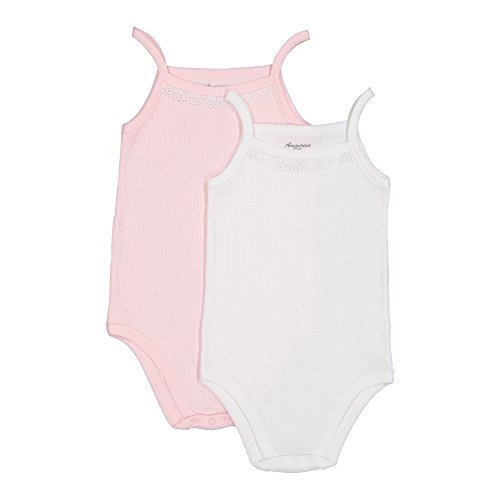Baby Girls Camisole Sleeveless Onesies - 100% Cotton Soft Ribbed with Lace Trim.