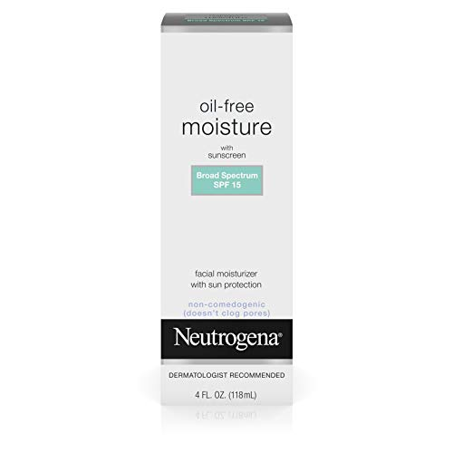 Oil Free Moisturizer Sunscreen - Neutrogena Oil Free Daily Long Lasting Facial Moisturizer & Neck Cream - Non Greasy, Oil Free Moisturizer Won't Clog Pores - SPF 15 Sunscreen & Glycerin, 4 fl. oz