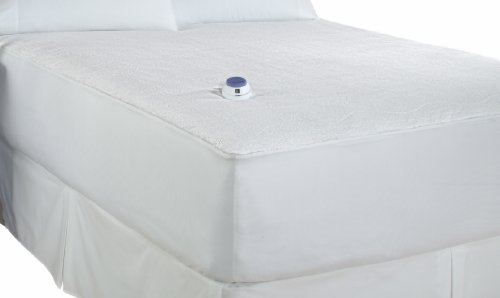 SoftHeat Micro-Plush Top Low-Voltage Electric Heated Queen Mattress Pad, White