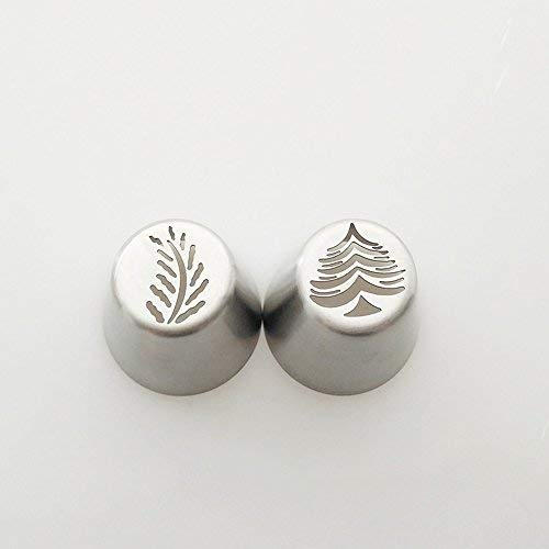 Christmas Tree Icing Piping Tips Special Russian Leaf Nozzle Bakeware Cupcake Cake Decorating Pastry Baking Tools.(Pack of 2 pcs)