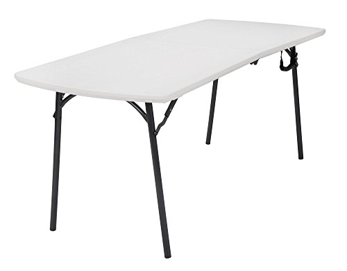 COSCO Diamond Series 300 lb. Weight Capacity, 6 ft. x 30 in. Fold-in-Half Banquet Table, White Speckle with Hammer Tone Frame