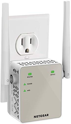 NETGEAR Wi-Fi Range Extender EX6120 - Coverage up to 1200 sq.ft. and 20 devices with AC1200 Dual Band Wireless Signal Booster & Repeater (up to 1200Mbps speed), and Compact Wall Plug Design 5 Way Gear Speaker