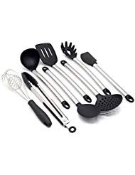 Kitchen Utensil Set - Nonstick Cooking Utensils - Stainless Steel & Silicone - BPA free Spoon, Turner, Pasta Server, Ladle, Spatula, Strainer, Whisk, Servings Tongs - Environmental Friendly Gift Box