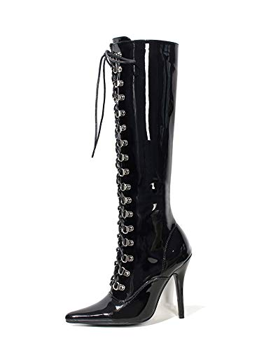tube Black medium heels 12 model shoes centimeter shoes boots High OXIqw