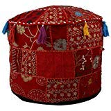 Indian Vintage Ottoman Pouf Cover ,Patchwork Ottoman, Living Room Patchwork Foot Stool Cover,Decorative Handmade Red Colour Home Chair Cover 14x22x22 Inch. by MyCrafts