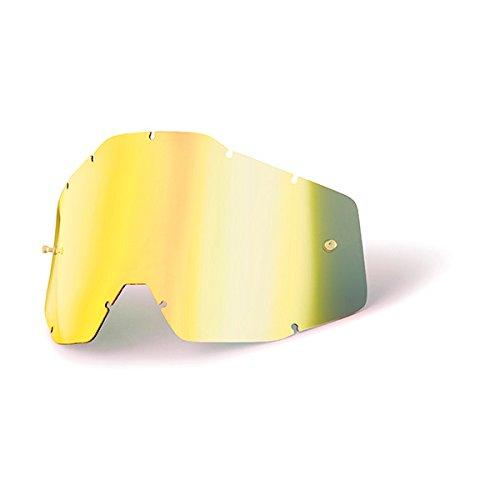 Grey Chrome Lens - 100% Speedlab (51002-009-02) RACECRAFT/ACCURI/STRATA Replacement Lens Gold Mirror/Smoke Anti-Fog, Free Size