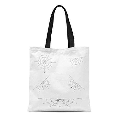 Tinmun Canvas Tote Bag Reusable Net of Spider Webs Cobwebs for Halloween Abandon Abandoned Shoulder Grocery Shoulder Bag Handbag Printed