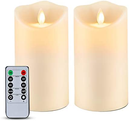 Homemory 6 x 3.25 Outdoor Waterproof Flameless Candles, Flickering Moving Flame LED Candles, Battery Operated Candles with Remote and Timers, Frosted Plastic, Set of 2