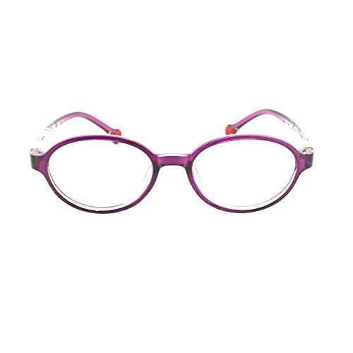 EyeBuyExpress Prescription Boys Girls Violet Clear Cool Childrens Reading Glasses Anti Glare Quality +1.25