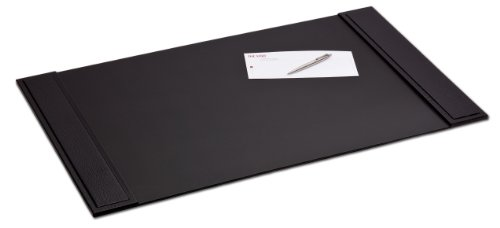 Dacasso Black Crocodile Embossed Leather Desk Pad with Side-Rails, 34 by 20 Inch